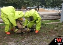 Bomberos realizan simulacro de fuga de residuos peligrosos