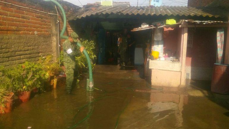 Ejército implementa Plan DNIII en Ocotlán tras lluvia de este jueves