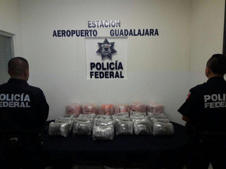Decomisan más de 50 kilos de marihuana en el Aeropuerto de Guadalajara