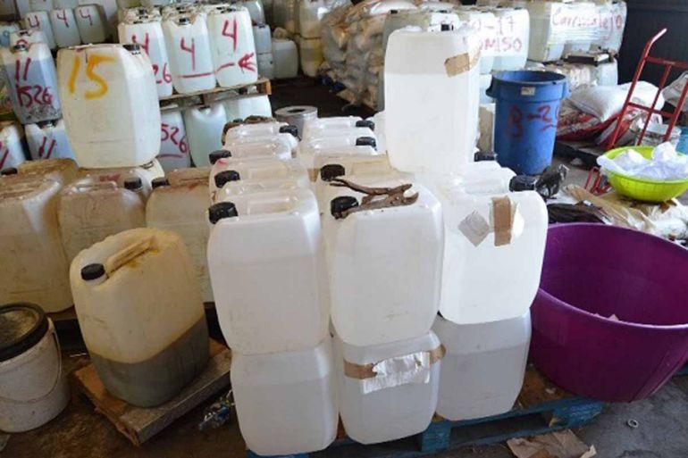 Decomisan 9 toneladas de precursores químicos pertenecientes al CJNG