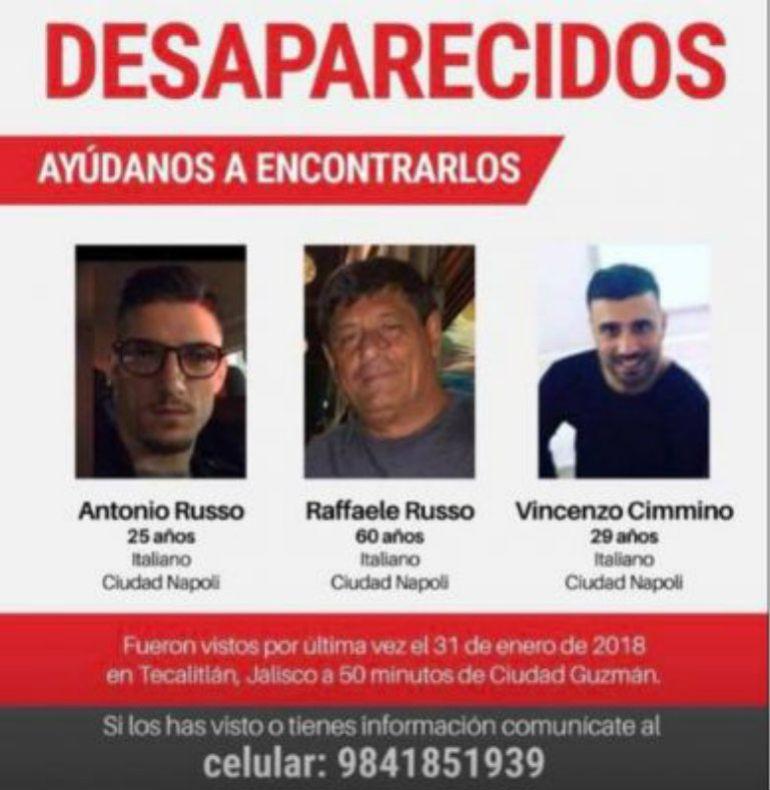 Continúan la búsqueda de los italianos desaparecidos