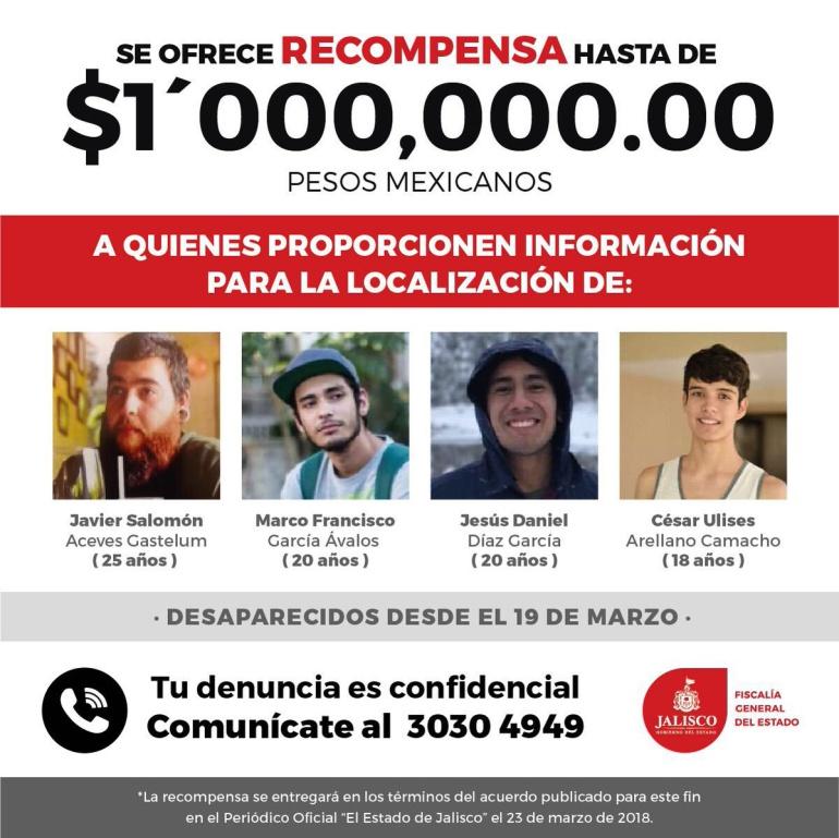 Hasta un millón para quien dé información sobre los estudiantes desaparecidos