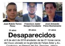 Localizan con vida a tres jóvenes desaparecidos