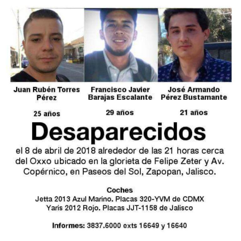 FGJ continúa la investigación tras la aparición de tres jóvenes desaparecidos