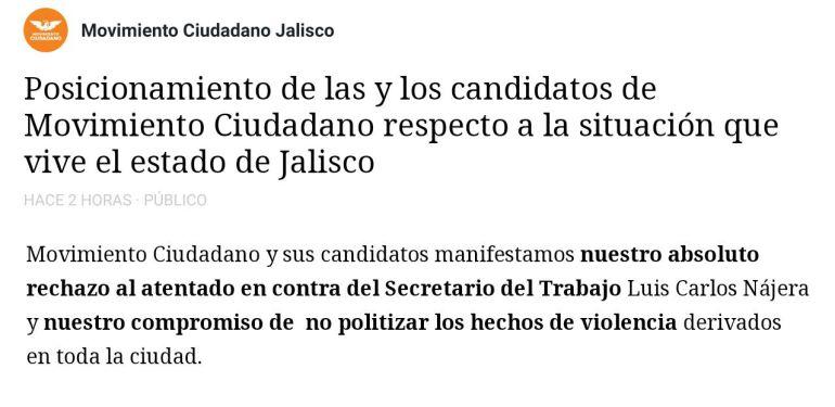 MC no buscará sacar provecho político del atentado contra Nájera
