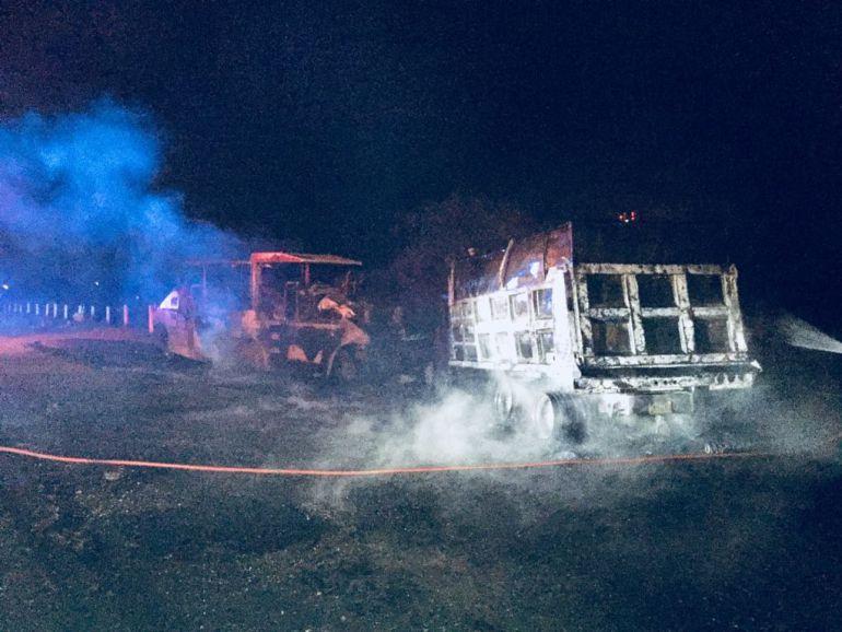 Balacera deja dos muertos y camiones quemados en Encarnación de Díaz, Jalisco