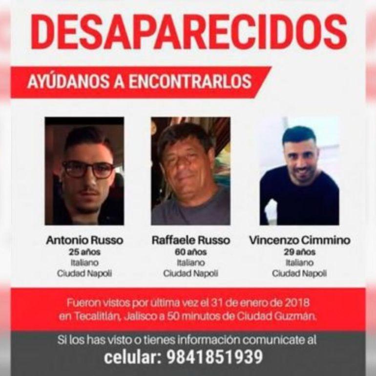 Avanzan investigaciones por la desaparición de los 3 italianos en Tecalitlán