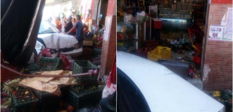 Camioneta choca con otro vehículo y luego contra una tienda