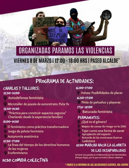 Colectivos feministas en Jalisco conmemoran Día Internacional de la Mujer