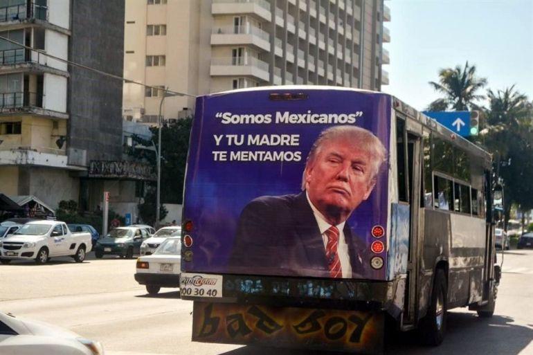Camiones protestan contra Trump en Acapulco, gobierno los retira