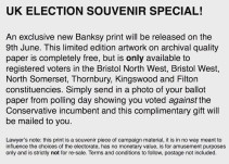 #AsíSopitas: Obligan a Banksy a retirar oferta por voto anticonservador en el Reino Unido