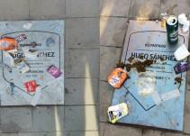 Aficionados vandalizan placa de Hugo Sánchez con estiércol