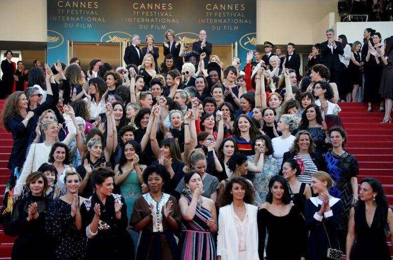 Protesta en la alfombra de los Cannes