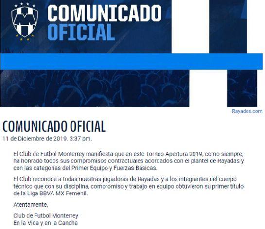 Cervecera ofrece premiar a Las Rayadas con el sueldo de un torneo