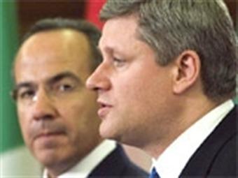 Inicia reunión bilateral Calderón-Harper