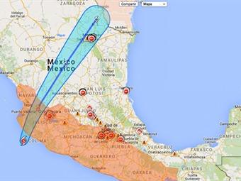 Mapa de zona afectada por el Huracán Patricia