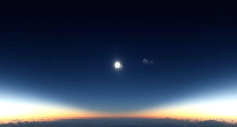 Así se ve un eclipse total de sol desde 10,000 metros de altura