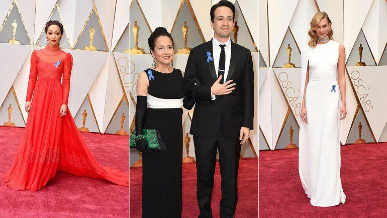 Estrellas de Hollywood lucen cinta azul en los Oscar 2017