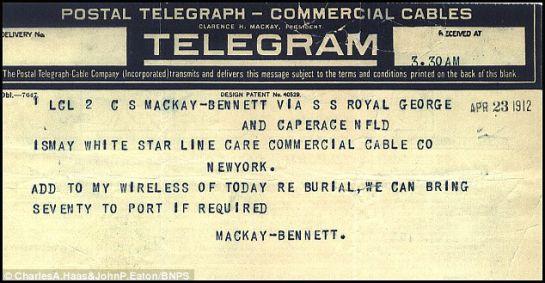 Telegramas revelan qué hicieron con las víctimas de tercera clase del Titanic