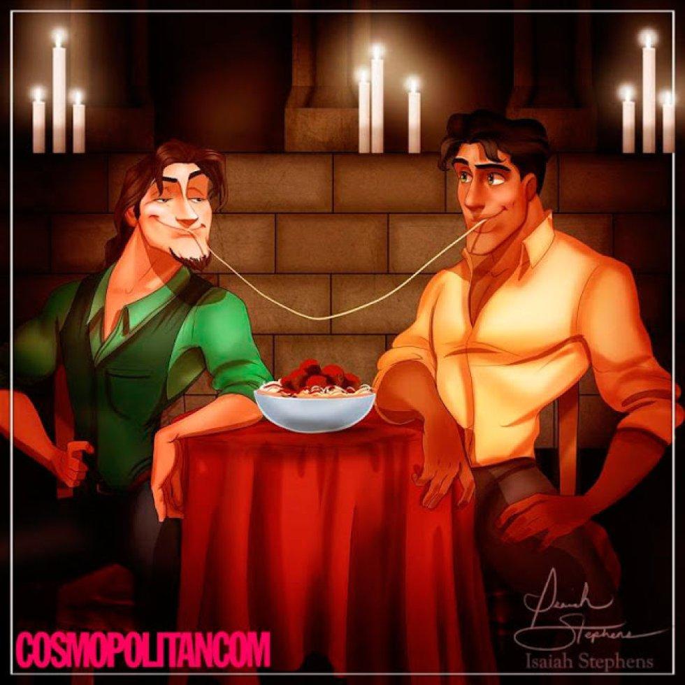 Flynn y Naveen compartiendo un poco de espagueti.
