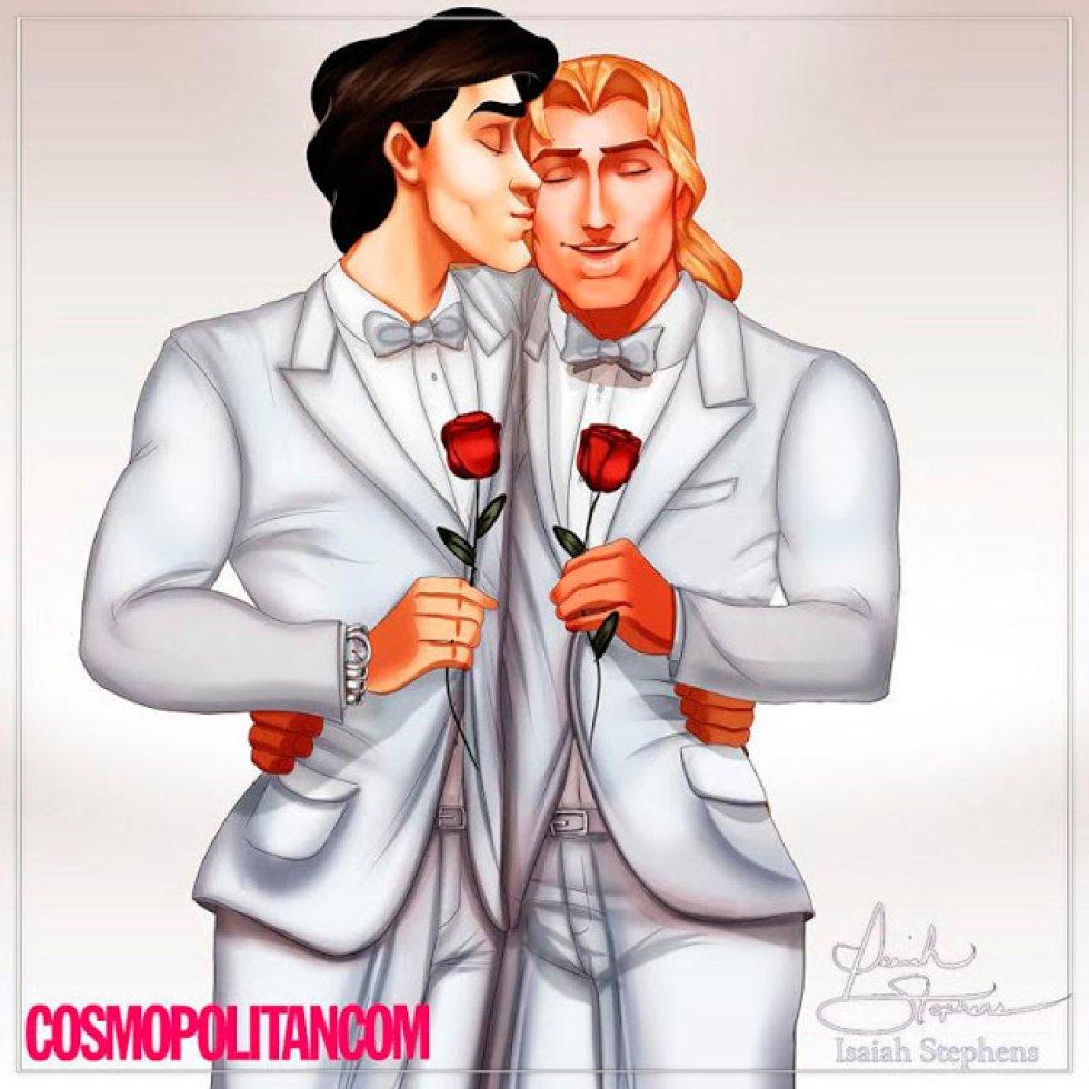 El príncipe Eric y John Smith después de casarse.