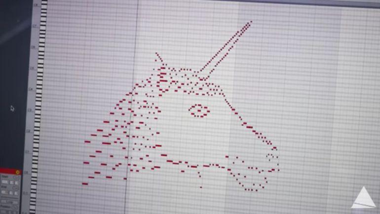 Dibujo de unicornio convertido en canción