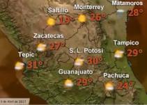 Se esperan temperaturas frescas en la mayor parte del territorio nacional