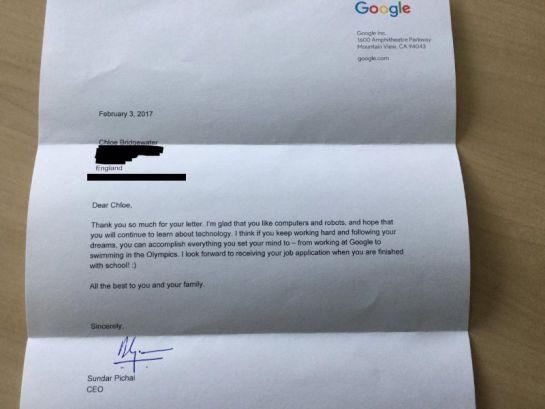 Niña pide trabajo en Google y el CEO le responde