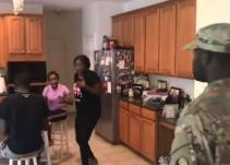 [Video] Familia de soldado reacciona de una manera inesperada al verlo volver