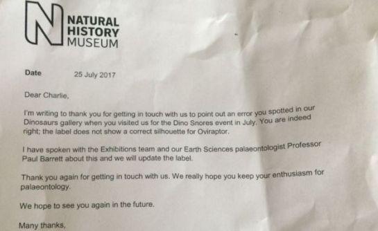 Niño de 10 años corrige error en el Museo de Historia Natural de Londres