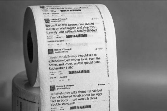 Venden tuits de Donald Trump impresos en papel higiénico