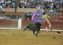 Aparatosa cornada al torero Sergio Flores en la feria de San Luis Potosí