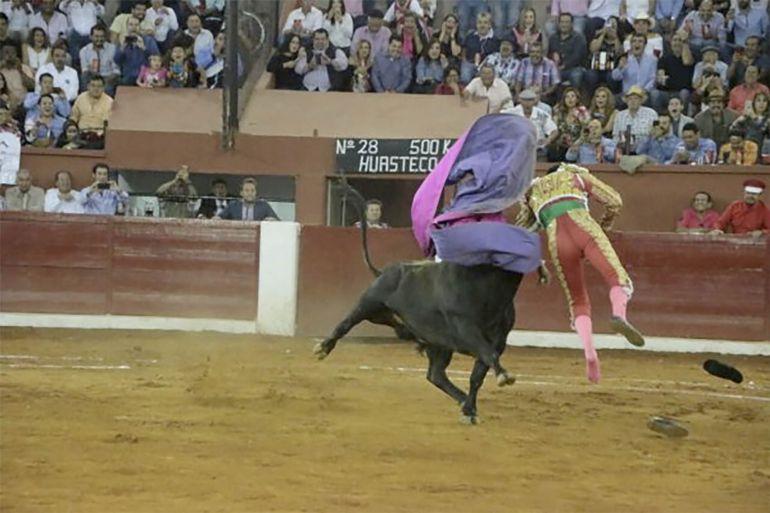 Cornada, torero Sergio Flores, feria de San Luis Potosí: Aparatosa cornada al torero Sergio Flores en la feria de San Luis Potosí