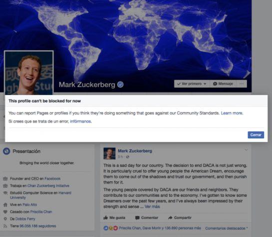 ¿Por qué no se puede bloquear a Mark Zuckerberg en Facebook?