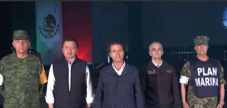 Peña NIeto SISMO México: El presidente Enrique Peña Nieto emite mensaje a la nación