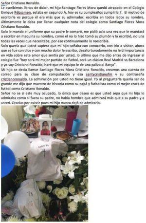 Real Madrid: Cristiano Ronaldo responde carta enviada por mamá de niño fallecido en sismo