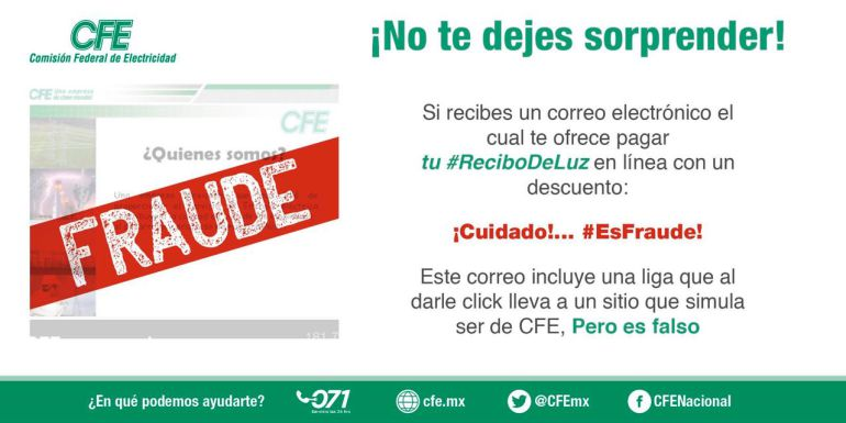 CFE: Alerta de fraude