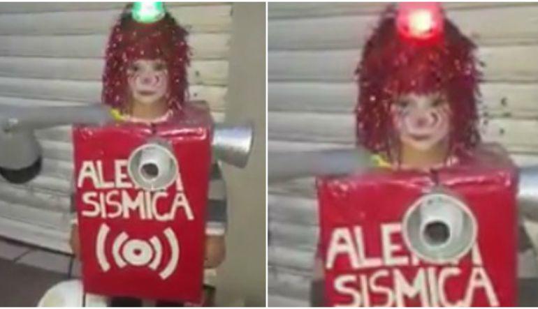 Día de muertos: Niño se disfraza de alerta sísmica y esto sucede