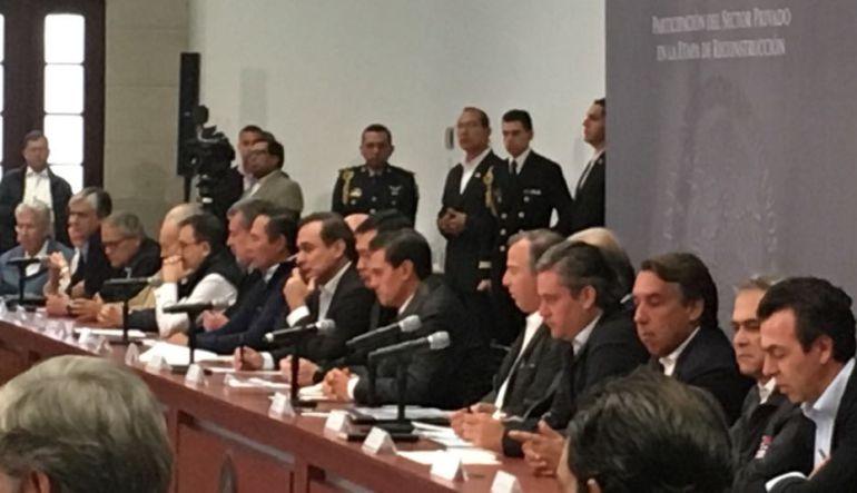 Sector privado aportará 4 mil millones para la reconstrucción por sismo:EPN