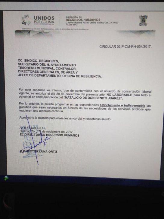 """En Colima dan puente de 20 noviembre por """"Natalicio de Benito Juárez"""""""