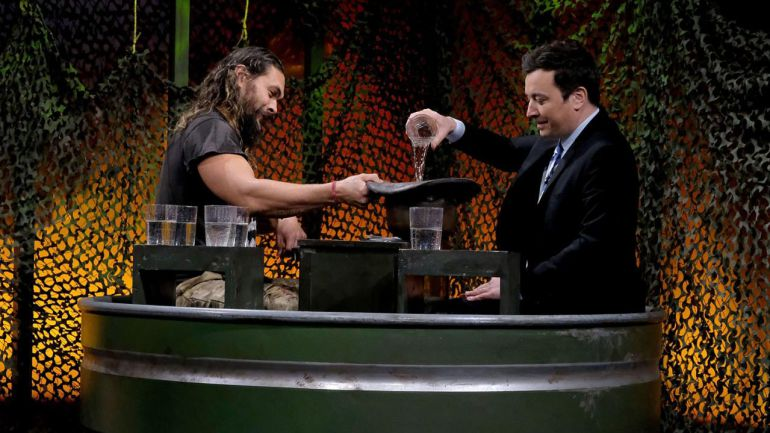 Jimmy Fallon, Aquaman, agua, guerra: 'Aquaman' VS Jimmy Fallon