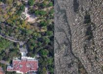 Foto aérea de Los Pinos, protesta contra desigualdad