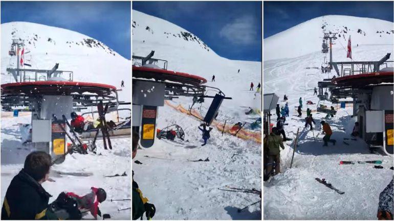 Telesilla lanza violentamente a esquiadores en Georgia
