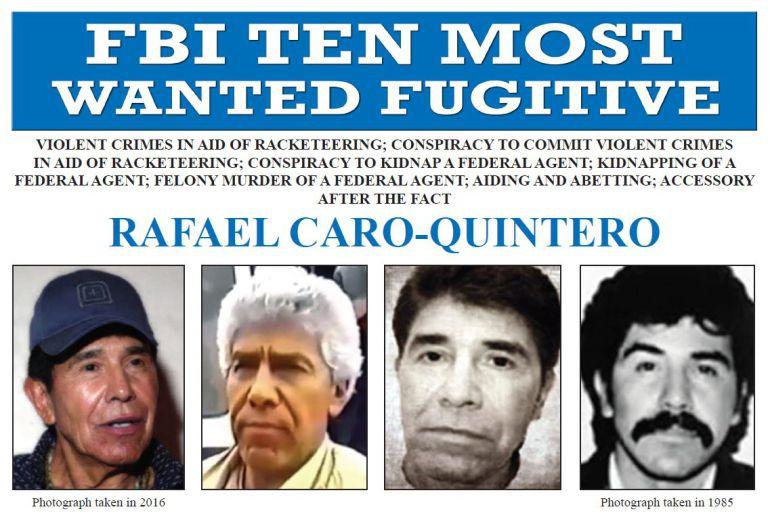 El FBI ofrece 20 mdd por la captura de Rafael Caro Quintero