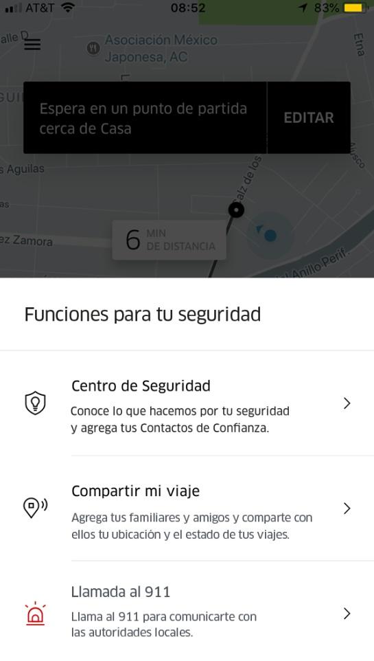 Uber cuenta con botón de pánico en México: Uber activa botón de pánico en nuestro país