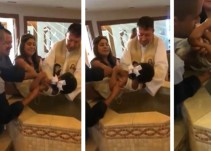 Niña ofende repetidamente a sacerdote mientras la bautizan