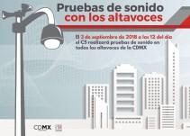 Realizarán segunda prueba de audio en altavoces de la CDMX
