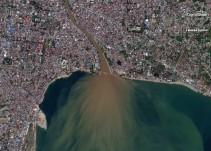 Fotos aéreas del antes y después de la tragedia en Indonesia