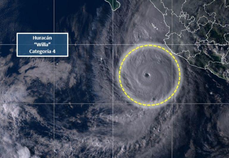 """""""Willa"""" ya es huracán categoría 4"""