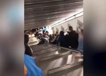 Colapsa escalera en estación del Metro